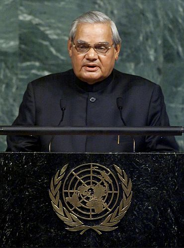 Then prime minister A B Vajpayee addresses the United Nations General Assembly, November 10, 2001