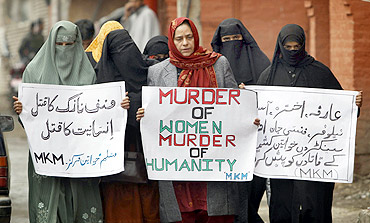 A women's separatist group leads a protest in Srinagar