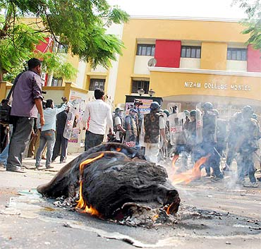 Students set fire to hostel beds as their 'chalo assembly' rally turns violent in Hyderabad on Monday