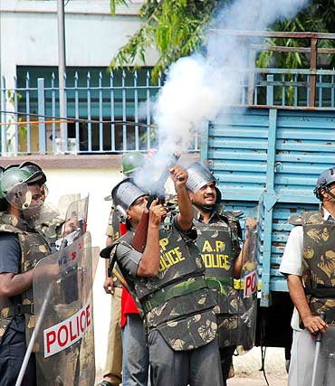 Police used tear gas shells to quell the protestors