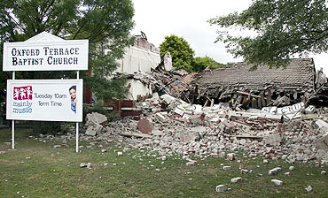 A destroyed Baptist church is seen after an earthquake in central Christchurch