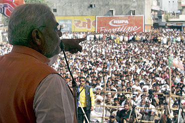 Gujarat Chief Minister Narendra Modi addresses a public rally at Godhra