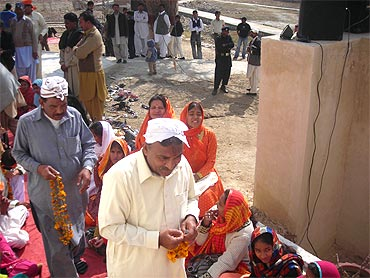 Hindu devotees at a temple in Pakistan