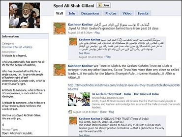 A screenshot of a Facebook page dedicated to Syed Ali Shah Geelani