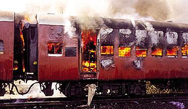 The burning coach of the Sabarmati Express
