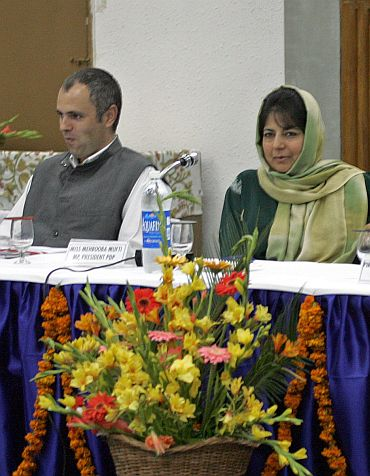 Mufti with Jammu and Kashmir Chief Minister Omar Abdullah