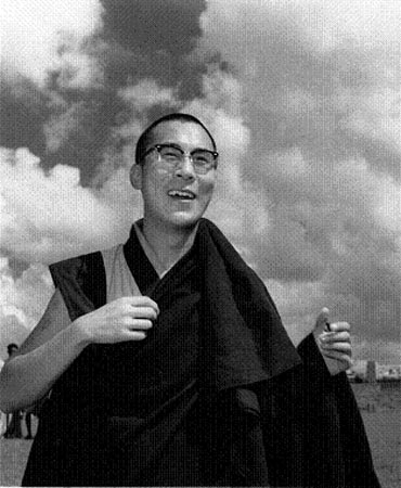 The Dalai Lama during a visit to Sikkim in 1956, three years before he left Tibet forever