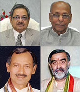 (Anti-clockwise: HRD Minister Prashant Kumar Sahi, Labour Resources Minister Janardan Singh Sigriwal, Health Minister Ashwini Kumar Chaubey and Sugarcane Minister Awadhesh Prasad Kushwaha