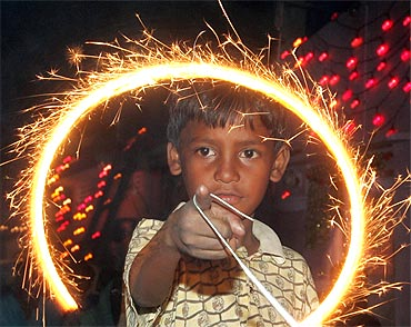 A Pakistani boy celebrates Diwali in Karachi