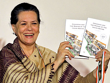 Congress chief Sonia Gandhi releases a book celebrating 125 years of the party during the 83rd plenary session in New Delhi
