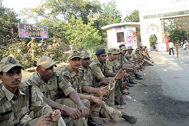 Police personnel deployed in Hyderabad