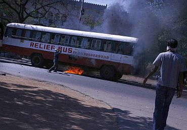 The anger of the mob didn't stop at burning buses