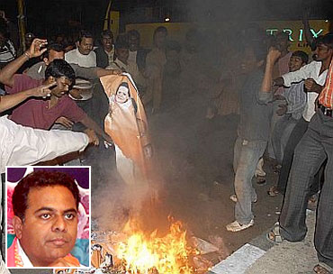 A file photo of pro-Telangana supporters protesting against the Congress and (inset) Kalvakuntla Taraka Rama Rao