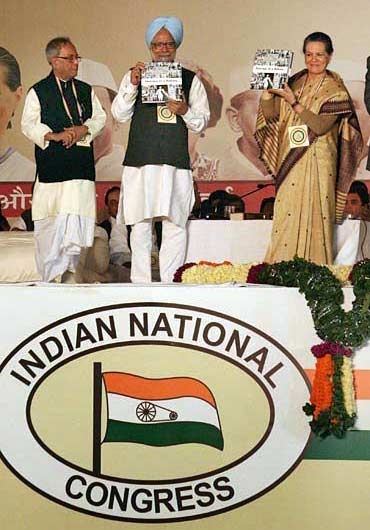 Pranab Mukherjee, Dr Manmohan Singh and Sonia Gandhi at the recent Congress plenary