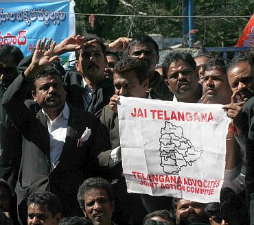Lawyers protest against the report in Hyderabad