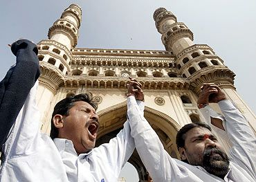 Protest in front of the historic Charminar in Hyderabad
