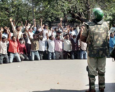 Telangana Students Joint Action Committee members protest at Osmania campus on Friday