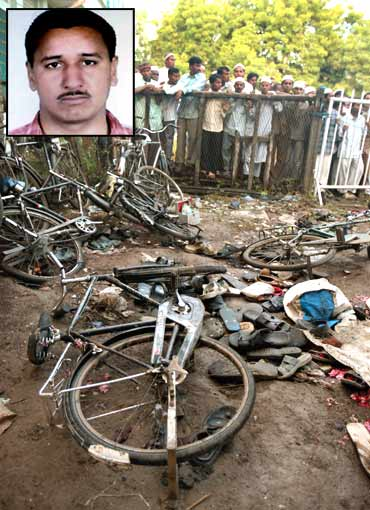 Damaged bicycles and torn footwear of bomb blast victims are strewn inside a mosque compound in Malegaon (Inset) Ramji Kalsanghra