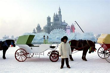 A man stands with his horse and carriage as he waits for visitors in front of a massive ice sculpture