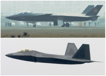 This combination photo shows a Chinese J-20 stealth fighter (top) in Chengdu, Sichuan province and a US Air Force Raptor stealth fighter
