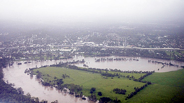 An aerial view of the rising Brisbane River