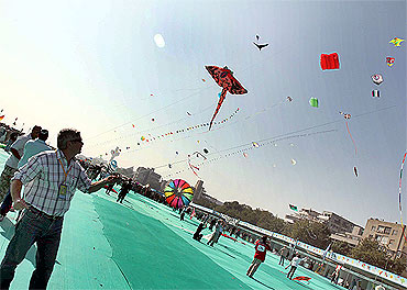 Participants at the International Kite Festival in Ahmedabad