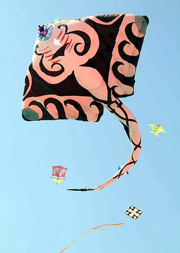 A plethora of Kites in all shapes and sizes were seen at the festival