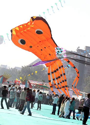 A kite shaped like an octopus seen at the festival in Ahmedabad