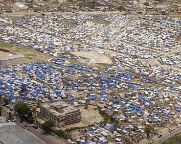 An aerial view of camps set up by earthquake survivors in Port-au-Prince