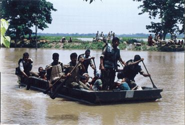 File photo shows Indian Army personnel involved in flood relief in Assam