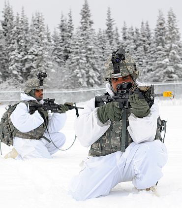 Indian soldiers taking part in a military exercise
