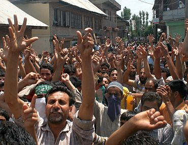 An anti-India protest in Srinagar