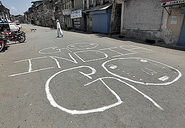 An anti-India graffiti on the streets of Srinagar