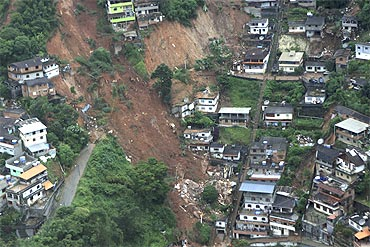 An aerial view of a neighbourhood partially destroyed by a landslide caused by heavy rains in Nova Friburgo, Brazil