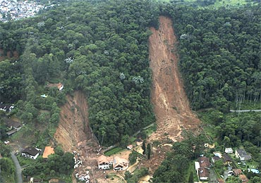 An aerial view of a neighbourhood partially destroyed by a landslide caused by heavy rains in Nova Friburgo