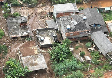 An aerial view shows a landslide-affected area in Teresopolis