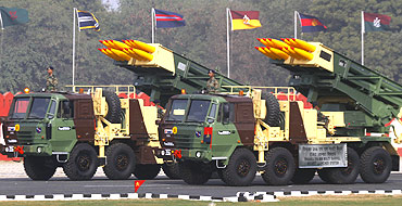 The Indian Army's Pinaka multi barrel rocket launcher systems are displayed during the Army Day parade in New Delhi