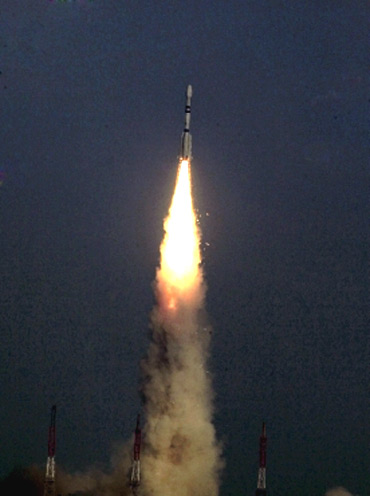 The GSLV blasts off carrying the communication satellite GSAT- 5P from the Satish Dhawan space centren Sriharikota