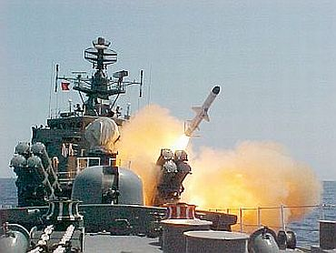 INS Brahmaputra test-fires a surface to surface missile