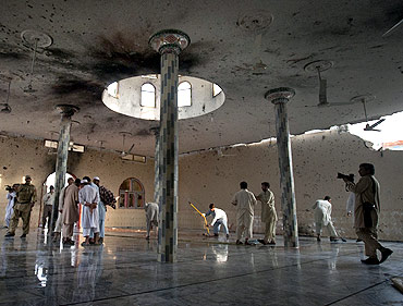The main hall of the Waali mosque after it was hit by a suicide bomb blast in Darra Adam Khel in Pakistan's Khyber-Pakhtunkhwa province