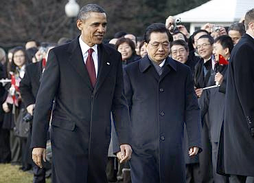 Obama with Chinese President Hu Jintao