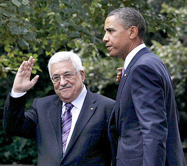 Obama with Palestinian President Mahmoud Abbas
