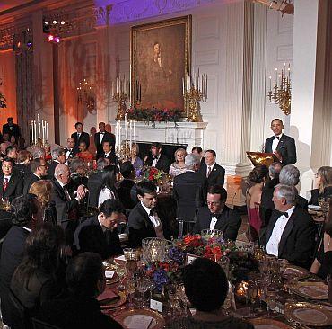 US President Barack Obama speaks at the State Dinner