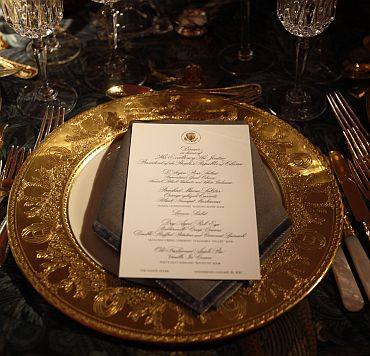 A table setting for the state dinner hosted by US President Obama for his Chinese counterpart Hu Jintao is shown at the White House