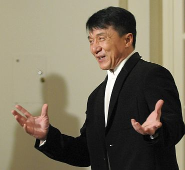 Actor Jackie Chan arrives for the state dinner