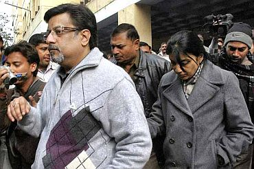 File photo of Aarsuhi's parents at the Ghaziabad court