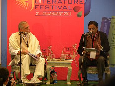 Gulzar and Pavan Jha at the Mughal tent