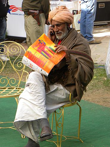 A local takes in the sights at the Jaipur Literature Festival