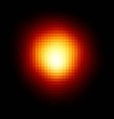 This is the first direct image of the star other than the Sun. Called Alpha Orionis, or Betelgeuse, the star is a red supergiant.