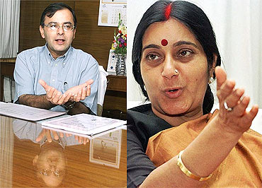 BJP senior leaders Arun Jaitley and Sushma Swaraj